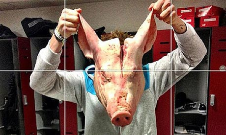 The pig's head that was put in the locker of Stoke City's Kenwyne Jones