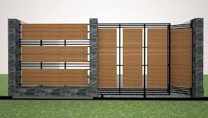 bangun rumah pagar minimalis plus kayu