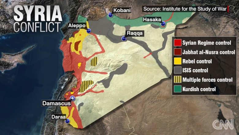 Peta kekuasaan kelompok-kelompok di Suriah