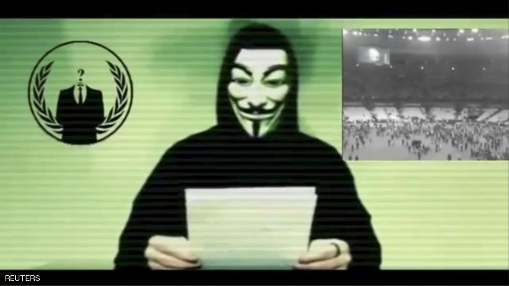 A man wearing a mask associated with Anonymous makes a statement in this still image from a video released on November 16, 2015. The Anonymous hackers collective is preparing to unleash waves of cyberattacks on Islamic State following the attacks in Paris last week that killed 129 people, it declared in the video posted online. REUTERS/Social Media Website via Reuters TV ATTENTION EDITORS - THIS PICTURE WAS PROVIDED BY A THIRD PARTY. REUTERS IS UNABLE TO INDEPENDENTLY VERIFY THE AUTHENTICITY, CONTENT, LOCATION OR DATE OF THIS IMAGE. FOR EDITORIAL USE ONLY. NOT FOR SALE FOR MARKETING OR ADVERTISING CAMPAIGNS. NO RESALES. NO ARCHIVE. THIS PICTURE IS DISTRIBUTED EXACTLY AS RECEIVED BY REUTERS, AS A SERVICE TO CLIENTS. TPX IMAGES OF THE DAY