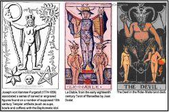 Simbol Baphomet pada masa lalu. Joseph von Hammer-Purgstall (1774-1856) menemukan artifak yang padanya terdapat serangkaian angka terukir yang diyakini nerupakanya artefak Templar abad ke-13 (termasuk cangkir, mangkuk dan pundi-pundi) dengan Baphometic sebagai idola mereka.