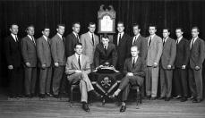 Skull and Bones in 1947, with George H. W. Bush just left of clock
